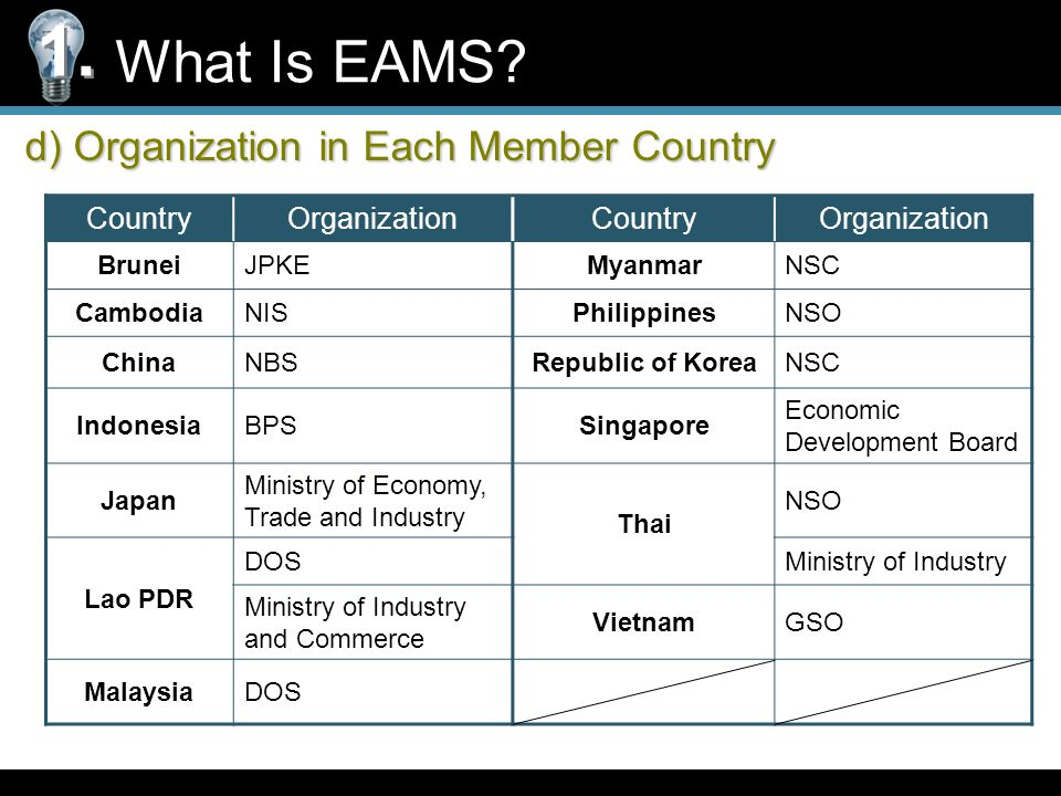d) Organization in Each Member Country What Is EAMS.