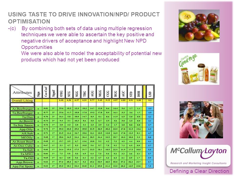 Defining a Clear Direction USING TASTE TO DRIVE INNOVATION/NPD/ PRODUCT OPTIMISATION -(c) By combining both sets of data using multiple regression techniques we were able to ascertain the key positive and negative drivers of acceptance and highlight New NPD Opportunities We were also able to model the acceptability of potential new products which had not yet been produced