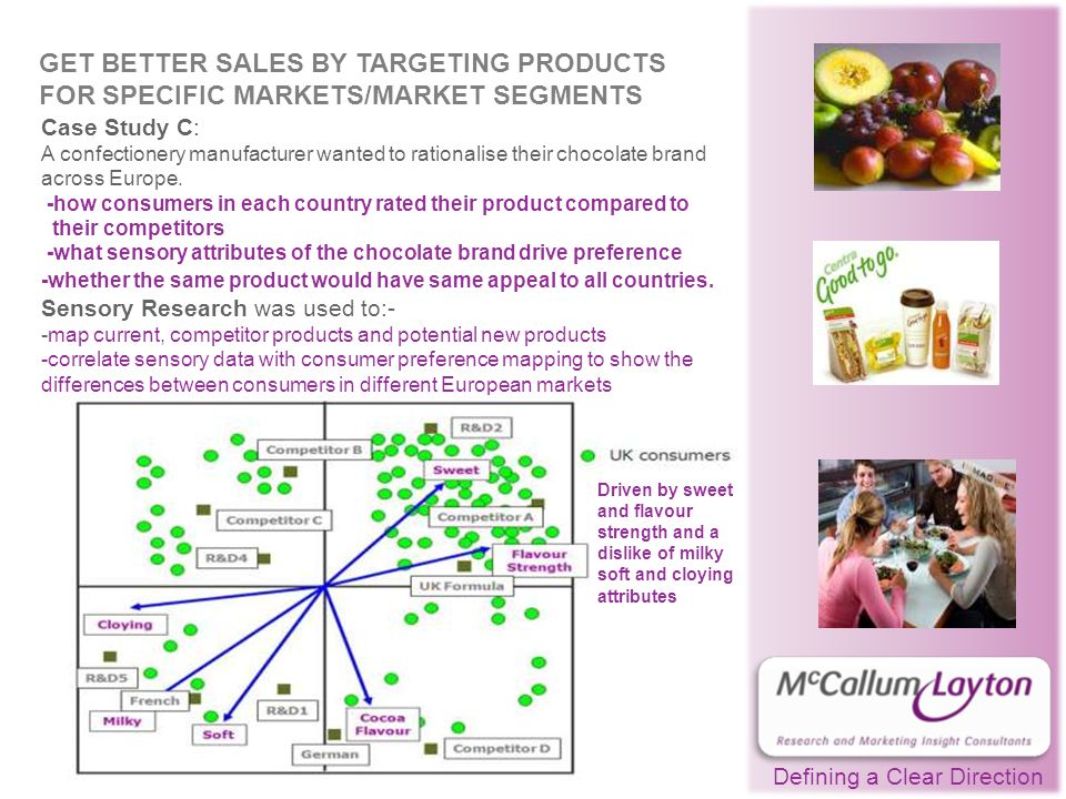 Defining a Clear Direction GET BETTER SALES BY TARGETING PRODUCTS FOR SPECIFIC MARKETS/MARKET SEGMENTS Case Study C: A confectionery manufacturer wanted to rationalise their chocolate brand across Europe.