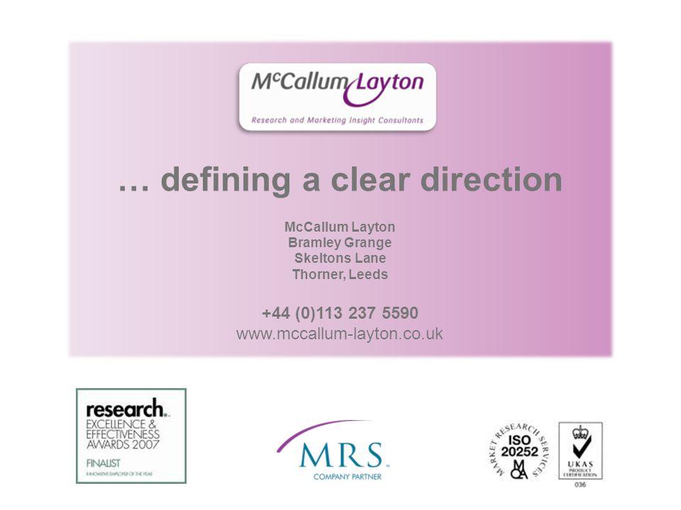 … defining a clear direction McCallum Layton Bramley Grange Skeltons Lane Thorner, Leeds +44 (0)113 237 5590 www.mccallum-layton.co.uk