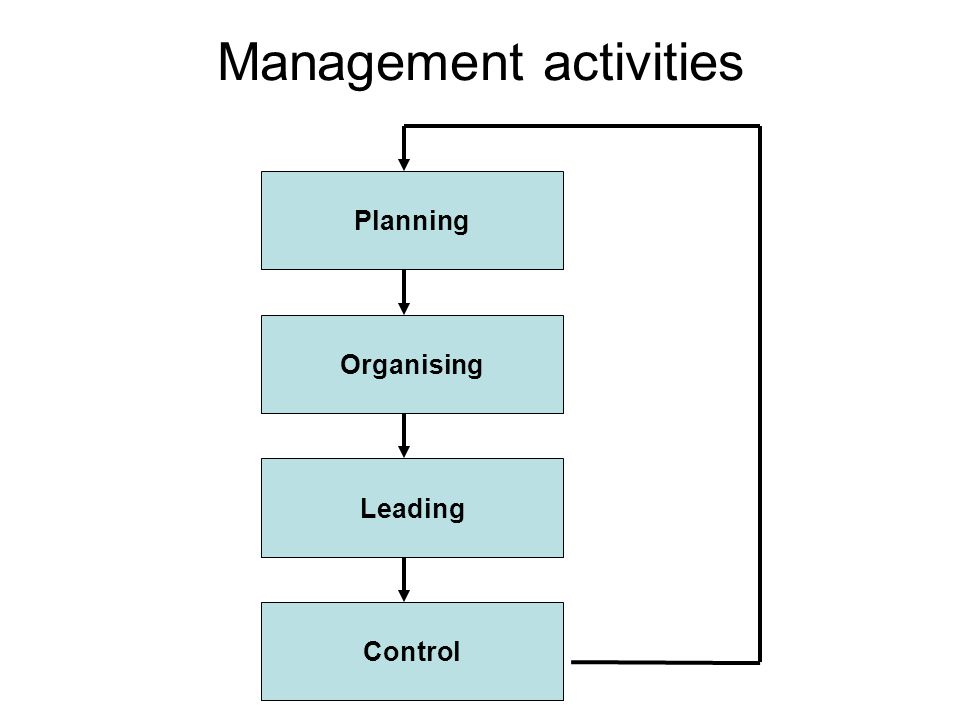 Management activities Planning Organising Leading Control