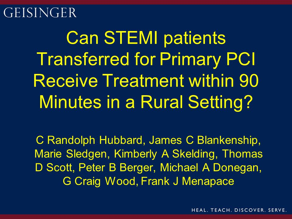 Can STEMI patients Transferred for Primary PCI Receive Treatment within 90 Minutes in a Rural Setting.