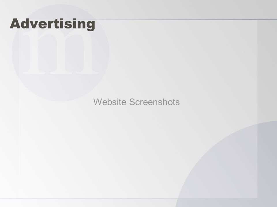 Advertising Website Screenshots