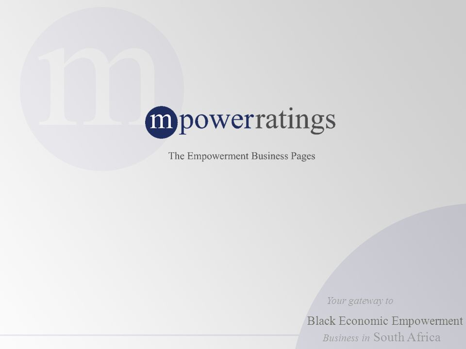 Business in Your gateway to Black Economic Empowerment South Africa