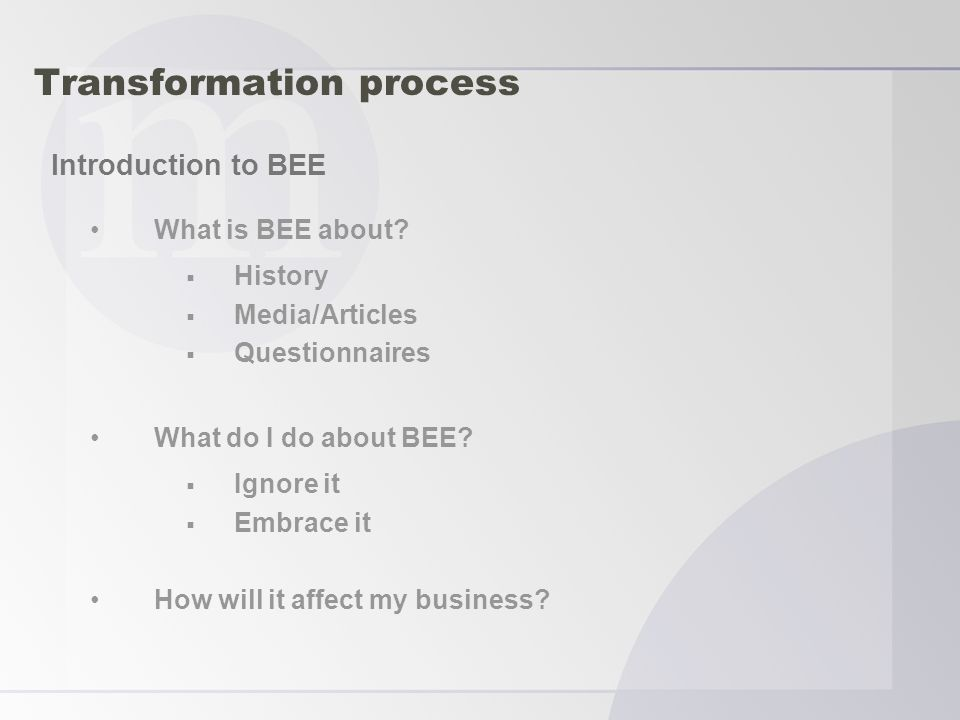Transformation process What is BEE about.