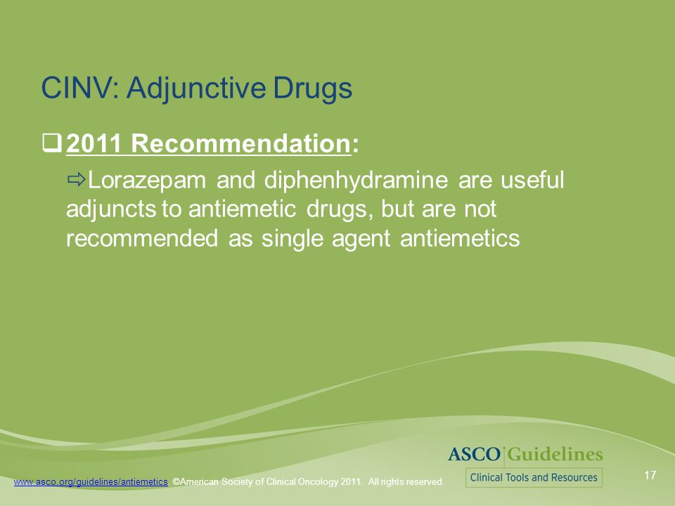 www.asco.org/guidelines/antiemeticswww.asco.org/guidelines/antiemetics. ©American Society of Clinical Oncology 2011. All rights reserved. CINV: Adjunc