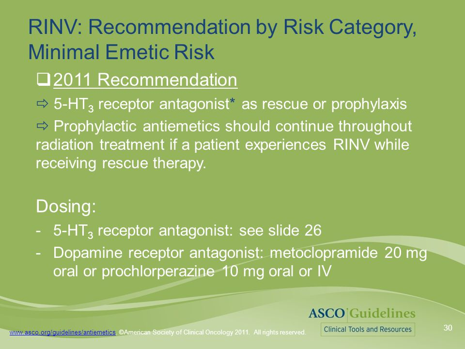 www.asco.org/guidelines/antiemeticswww.asco.org/guidelines/antiemetics. ©American Society of Clinical Oncology 2011. All rights reserved. RINV: Recomm