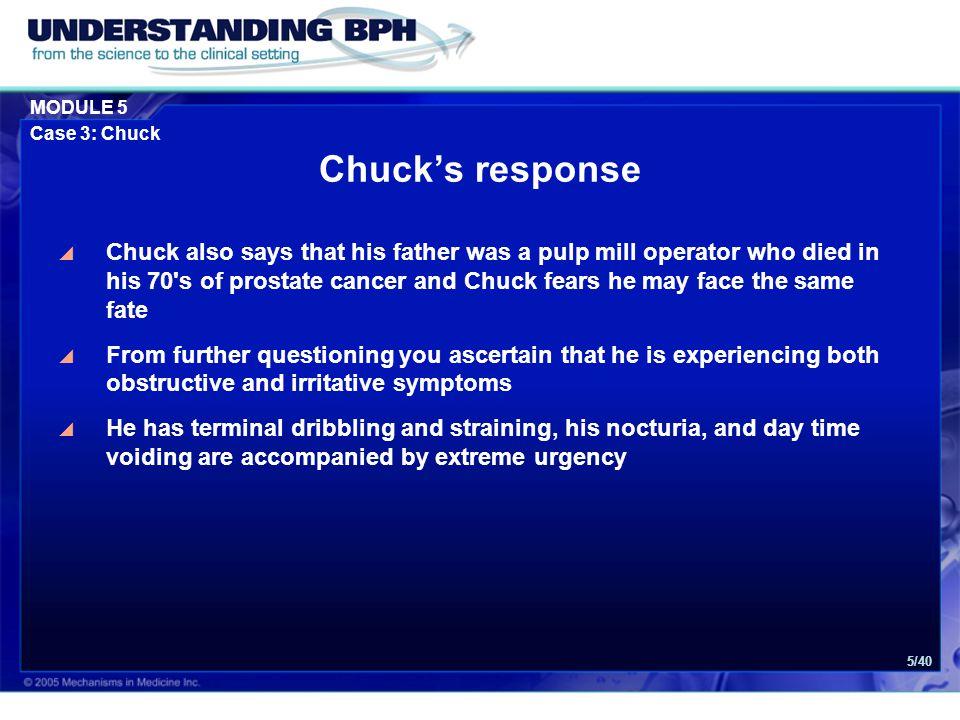MODULE 5 Case 3: Chuck 16/40 Necessary Examinations: 1.Abdominal exam 2.Genital exam 3.DRE DRE = Digital Rectal Examination