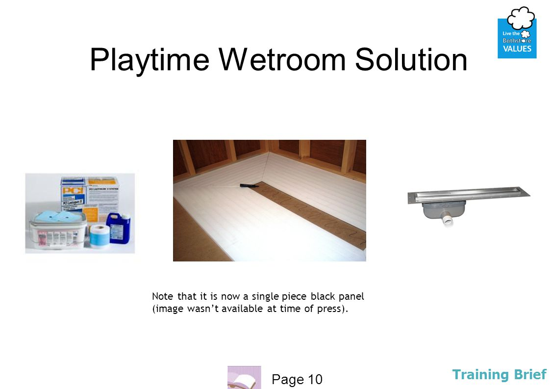 Page 10 Training Brief Playtime Wetroom Solution Note that it is now a single piece black panel (image wasn't available at time of press).