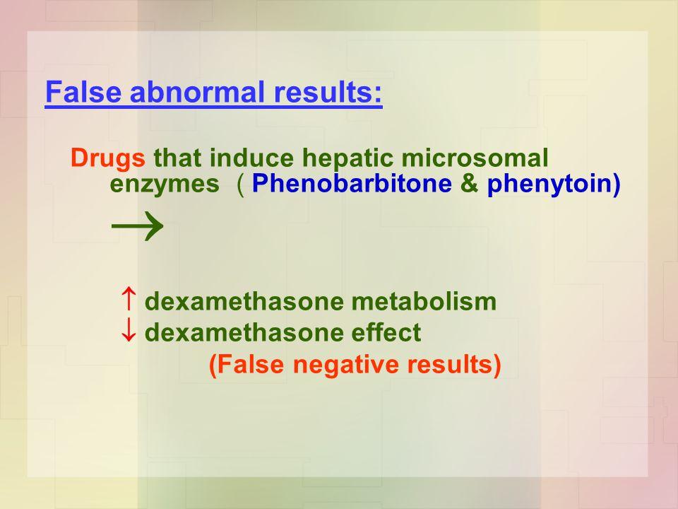 False abnormal results: Drugs that induce hepatic microsomal enzymes ( Phenobarbitone & phenytoin)   dexamethasone metabolism  dexamethasone effect (False negative results)