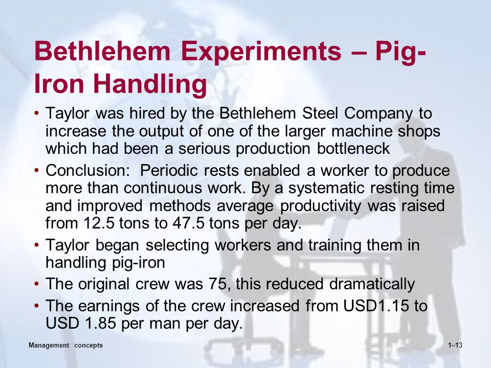 Bethlehem Experiments – Pig- Iron Handling Taylor was hired by the Bethlehem Steel Company to increase the output of one of the larger machine shops w