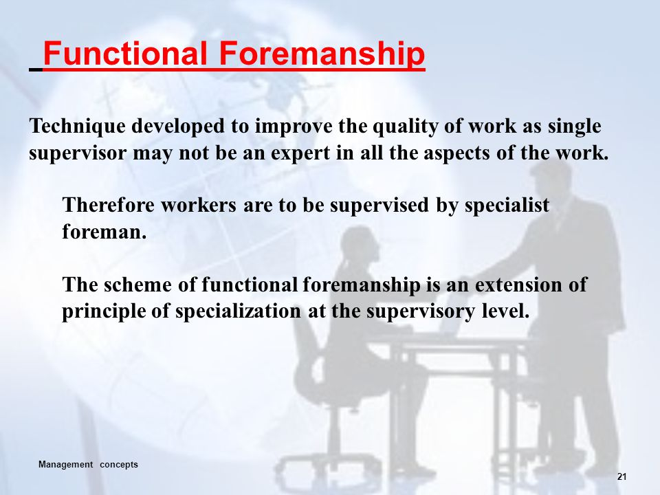 21 Functional Foremanship Technique developed to improve the quality of work as single supervisor may not be an expert in all the aspects of the work.