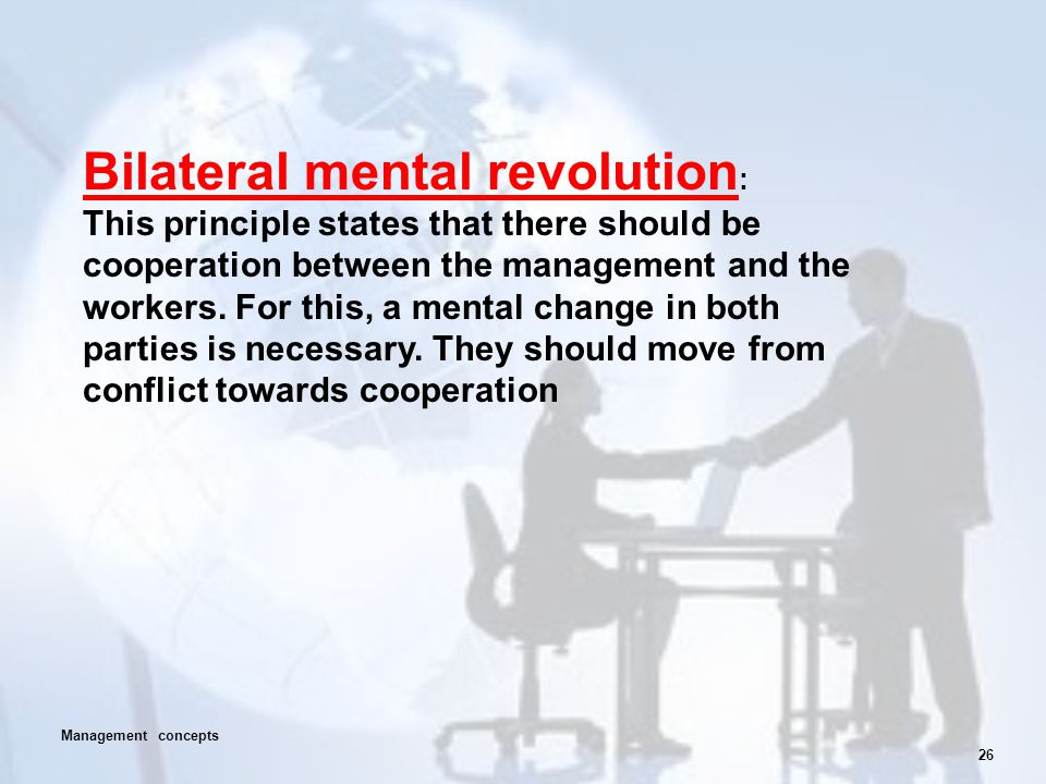 26 Bilateral mental revolution : This principle states that there should be cooperation between the management and the workers. For this, a mental cha