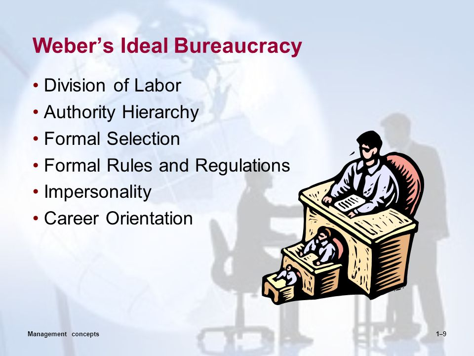 Weber's Ideal Bureaucracy Division of Labor Authority Hierarchy Formal Selection Formal Rules and Regulations Impersonality Career Orientation 1–9Mana
