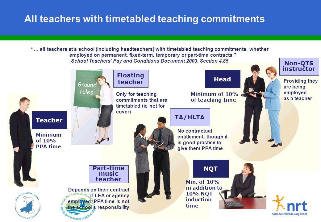 "– 17 – All teachers with timetabled teaching commitments Floating teacher Part-time music teacher Teacher ""… all teachers at a school (including headt"
