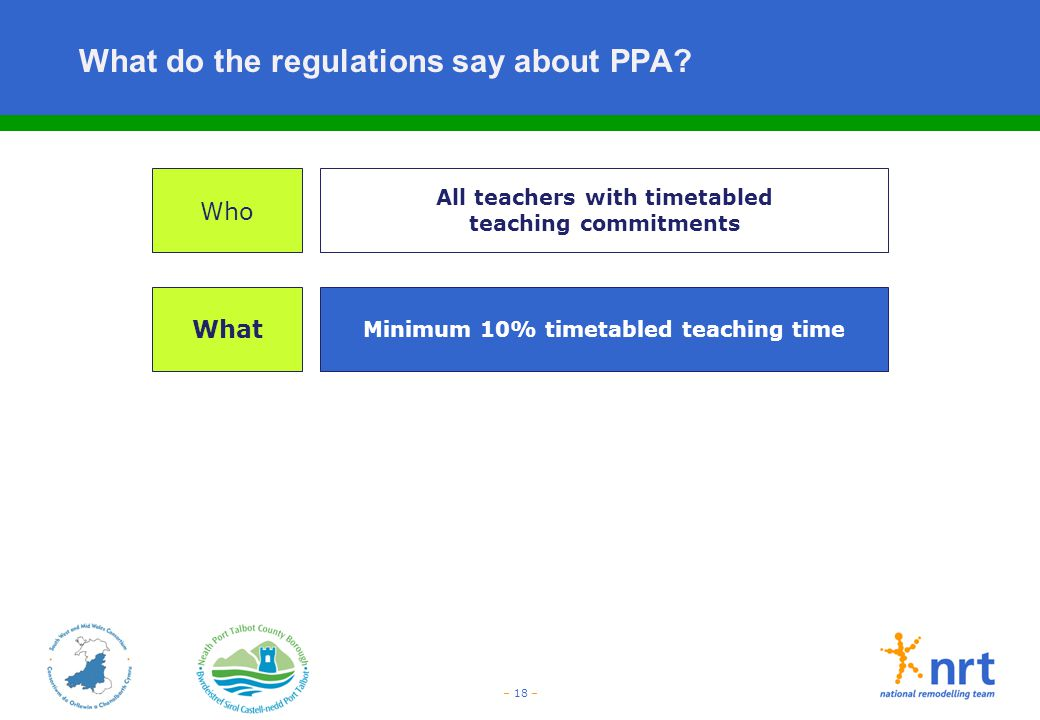 – 18 – What do the regulations say about PPA? Who What All teachers with timetabled teaching commitments Minimum 10% timetabled teaching time