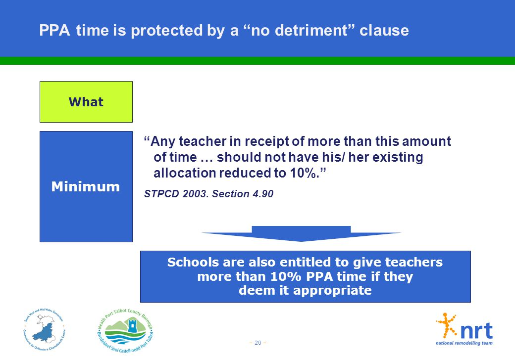 """– 20 – PPA time is protected by a """"no detriment"""" clause Minimum """"Any teacher in receipt of more than this amount of time … should not have his/ her ex"""