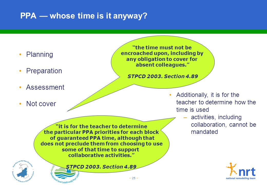 – 25 – PPA — whose time is it anyway? Planning Preparation Assessment Not cover Additionally, it is for the teacher to determine how the time is used
