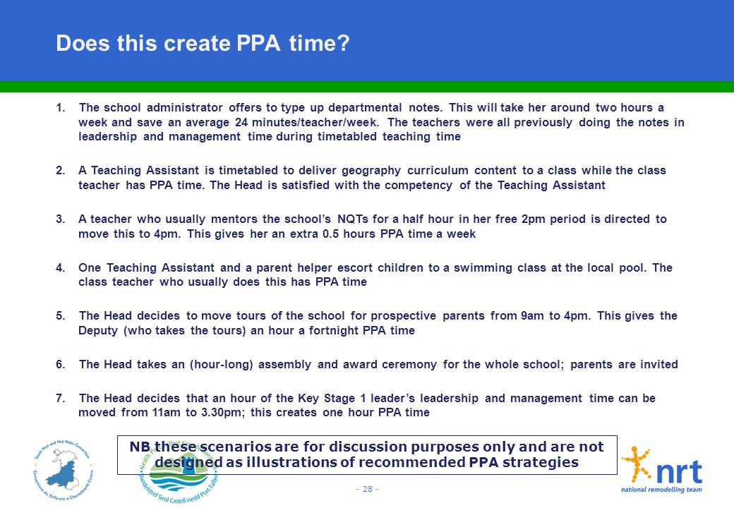 – 28 – Does this create PPA time? 1. The school administrator offers to type up departmental notes. This will take her around two hours a week and sav