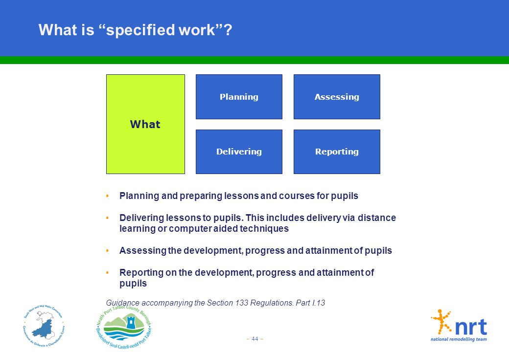 """– 44 – What is """"specified work""""? What Planning and preparing lessons and courses for pupils Delivering lessons to pupils. This includes delivery via d"""