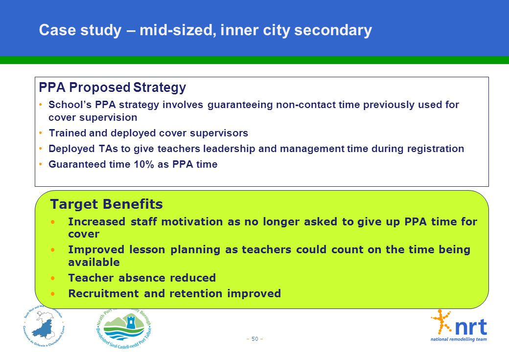 – 50 – Case study – mid-sized, inner city secondary PPA Proposed Strategy School's PPA strategy involves guaranteeing non-contact time previously used