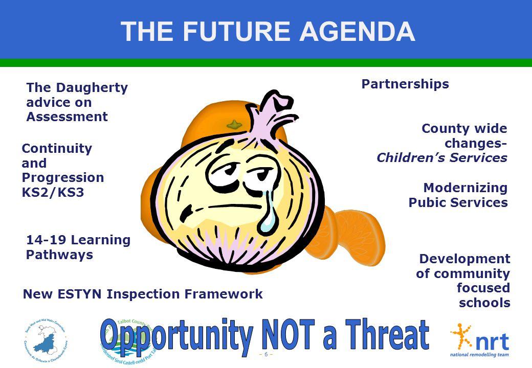 – 6 – THE FUTURE AGENDA The Daugherty advice on Assessment Continuity and Progression KS2/KS3 New ESTYN Inspection Framework Partnerships Modernizing