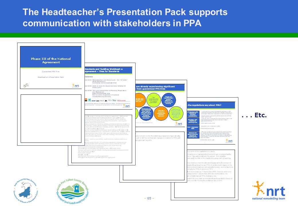 – 65 – The Headteacher's Presentation Pack supports communication with stakeholders in PPA... Etc.