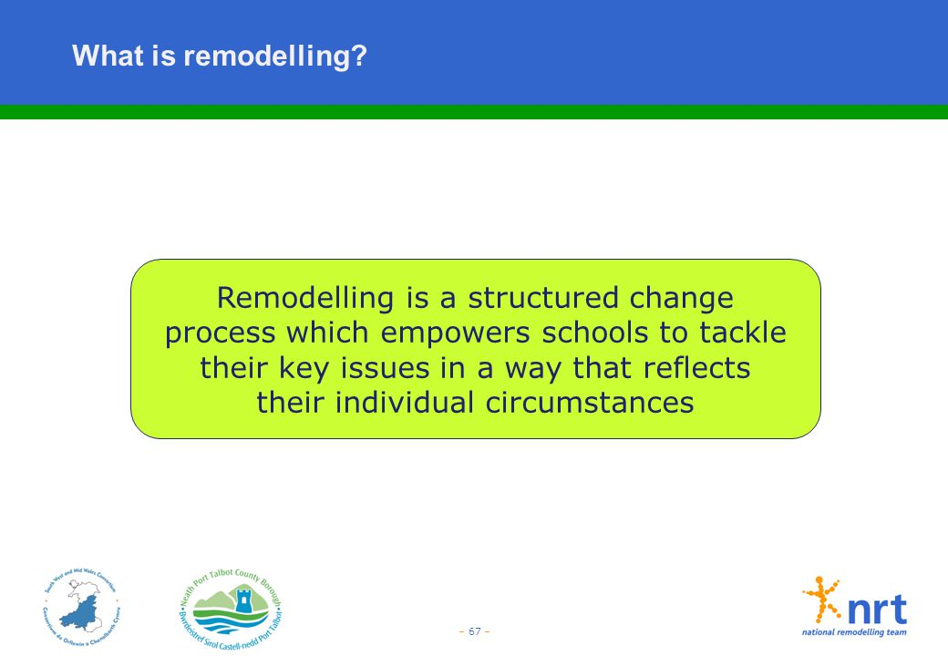 – 67 – What is remodelling? Remodelling is a structured change process which empowers schools to tackle their key issues in a way that reflects their
