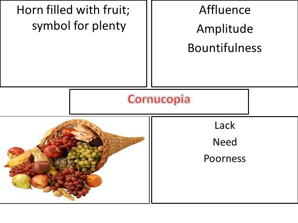 Horn filled with fruit; symbol for plenty Affluence Amplitude Bountifulness Lack Need Poorness