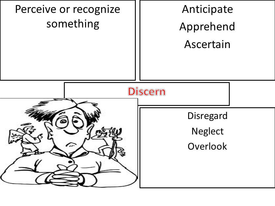 Perceive or recognize something Anticipate Apprehend Ascertain Disregard Neglect Overlook