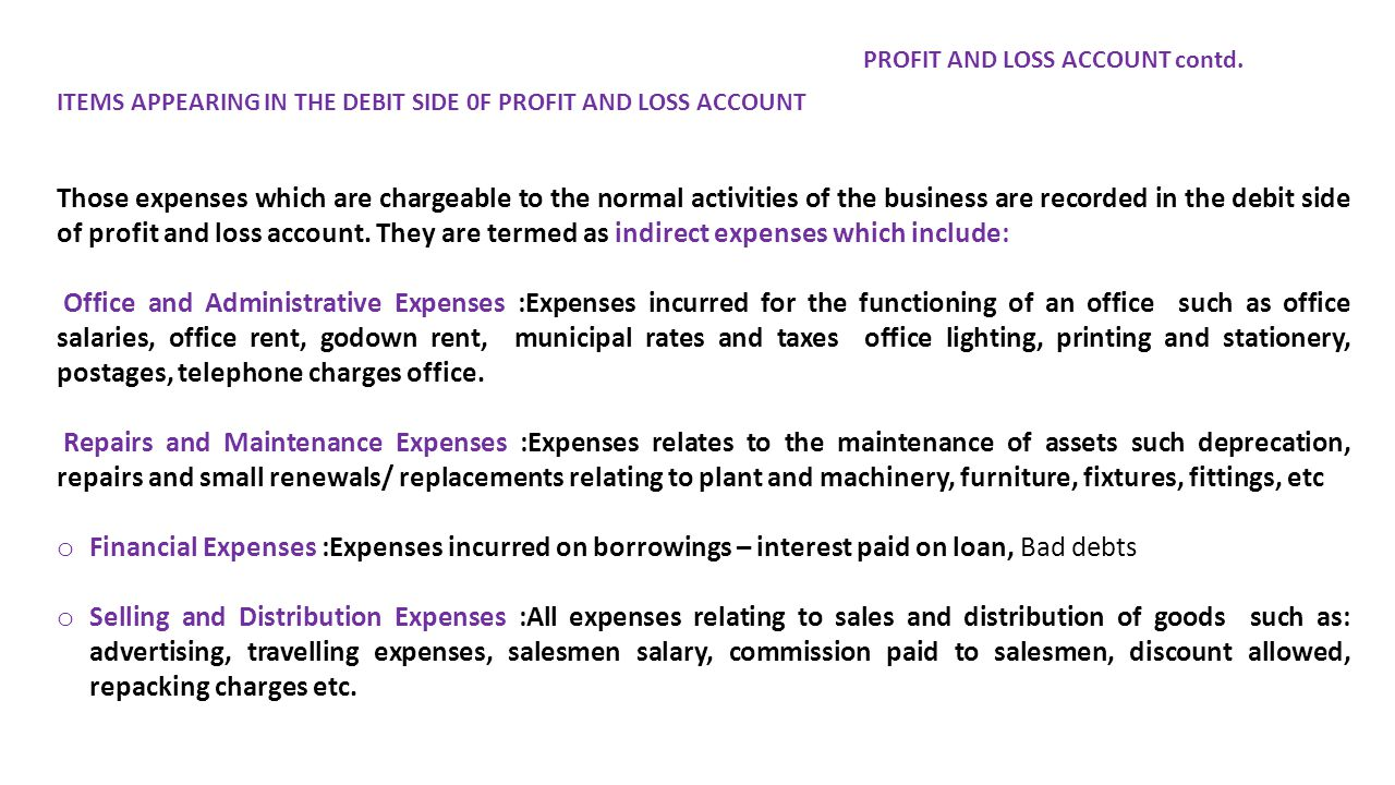 ITEMS APPEARING IN THE DEBIT SIDE 0F PROFIT AND LOSS ACCOUNT Those expenses which are chargeable to the normal activities of the business are recorded in the debit side of profit and loss account.