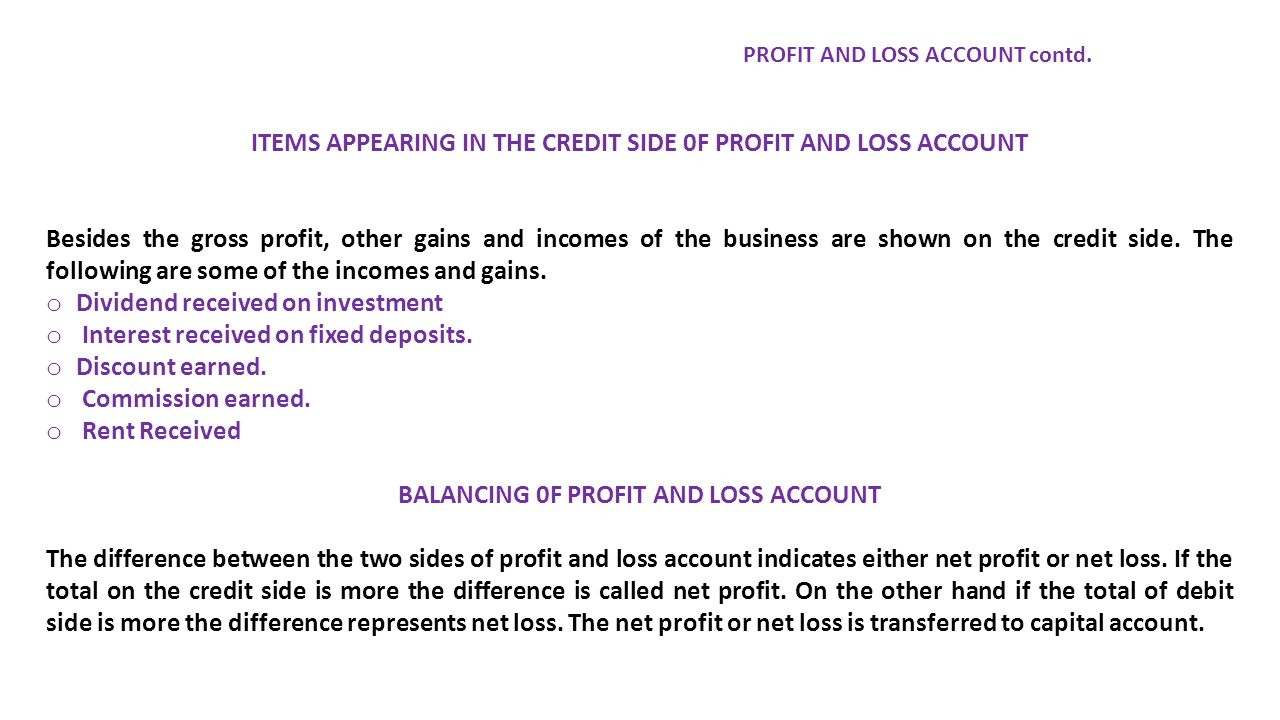 ITEMS APPEARING IN THE CREDIT SIDE 0F PROFIT AND LOSS ACCOUNT Besides the gross profit, other gains and incomes of the business are shown on the credit side.