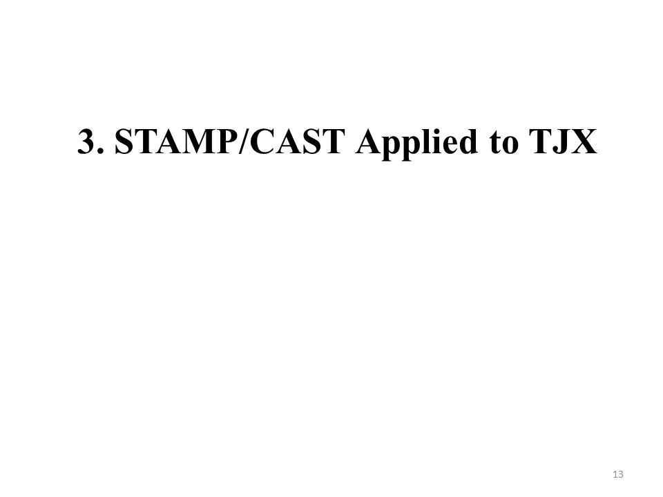 3. STAMP/CAST Applied to TJX 13