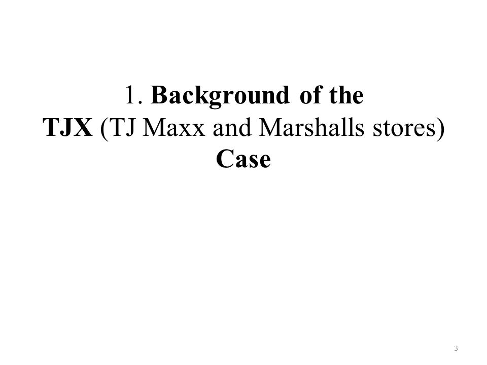 1. Background of the TJX (TJ Maxx and Marshalls stores) Case 3