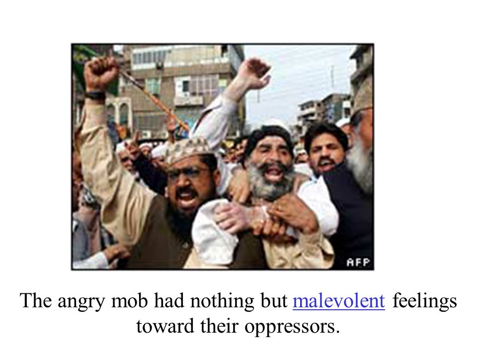 The angry mob had nothing but malevolent feelings toward their oppressors.