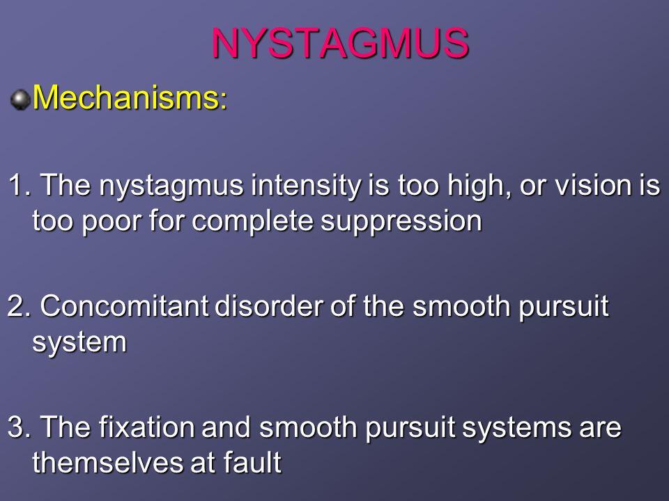 NEUROLOGICAL AND NEUROMUSCULAR NYSTAGMUS Spasmus Nutans (Nodding Spasm) Triad: 1.