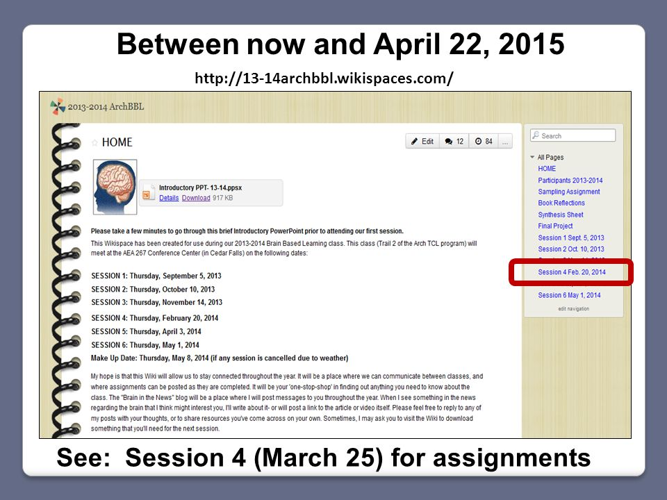 Between now and April 22, 2015 See: Session 4 (March 25) for assignments http://13-14archbbl.wikispaces.com/
