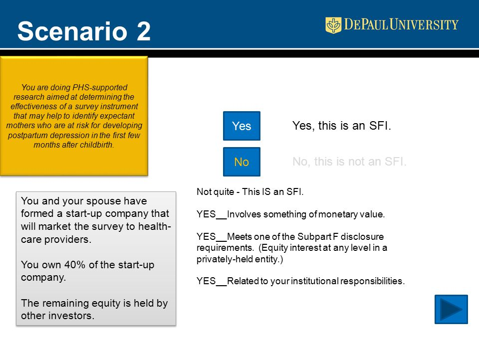 Scenario 2 Yes No Yes, this is an SFI. No, this is not an SFI.