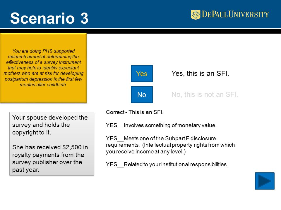 Scenario 3 Yes No Yes, this is an SFI. No, this is not an SFI.