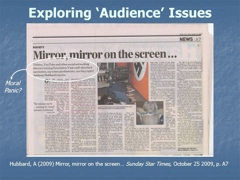 Exploring 'Audience' Issues Hubbard, A (2009) Mirror, mirror on the screen… Sunday Star Times, October 25 2009, p.