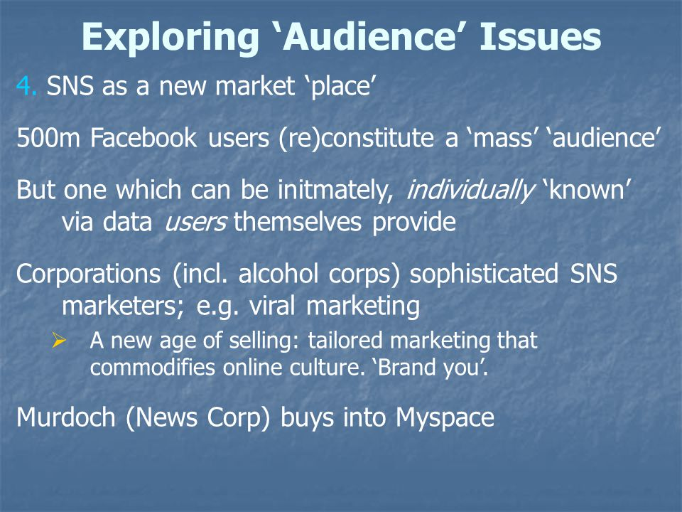 Exploring 'Audience' Issues 4.