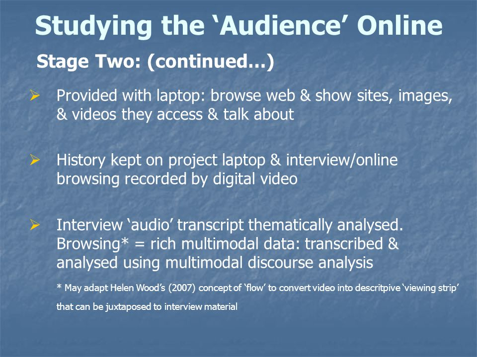 Studying the 'Audience' Online Stage Two: (continued…)  Provided with laptop: browse web & show sites, images, & videos they access & talk about  History kept on project laptop & interview/online browsing recorded by digital video  Interview 'audio' transcript thematically analysed.