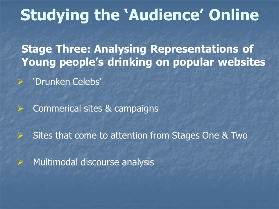 Studying the 'Audience' Online Stage Three: Analysing Representations of Young people's drinking on popular websites  'Drunken Celebs'  Commerical sites & campaigns  Sites that come to attention from Stages One & Two  Multimodal discourse analysis