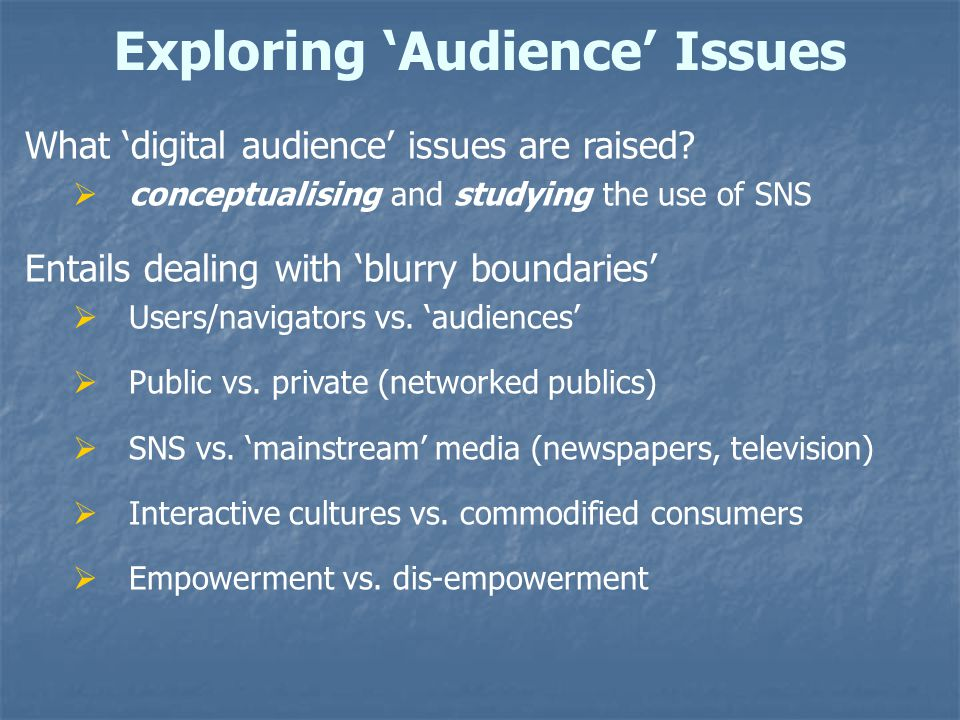 Exploring 'Audience' Issues What 'digital audience' issues are raised.