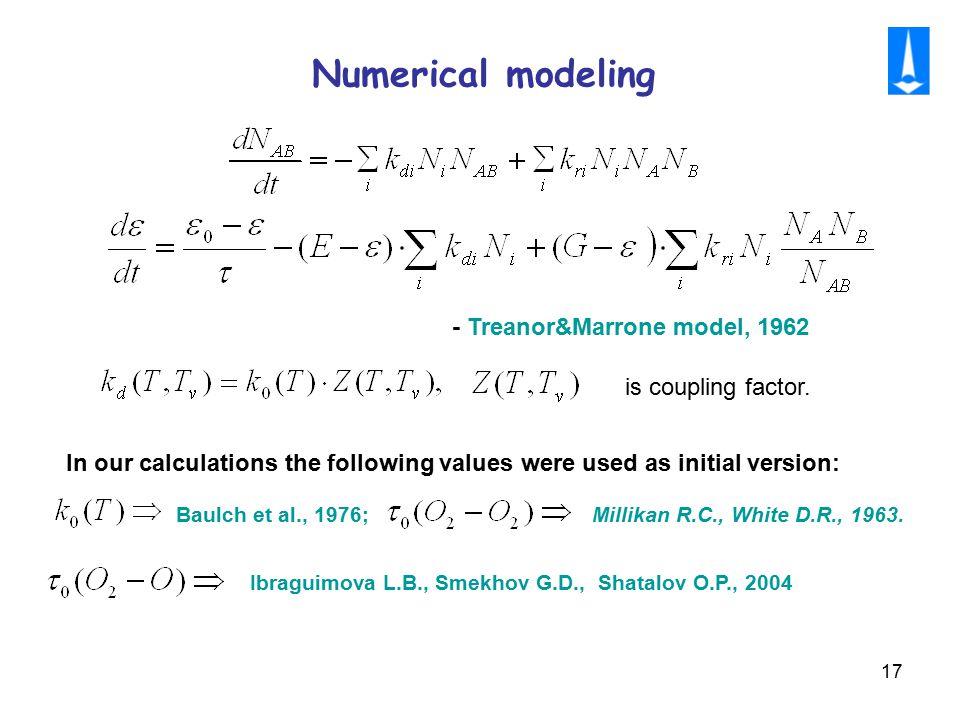 17 Numerical modeling Baulch et al., 1976; Millikan R.C., White D.R., 1963. Ibraguimova L.B., Smekhov G.D., Shatalov O.P., 2004 In our calculations th