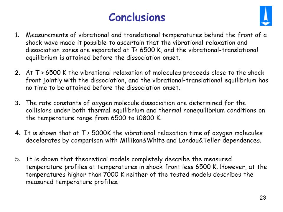 23 Conclusions 1.Measurements of vibrational and translational temperatures behind the front of a shock wave made it possible to ascertain that the vi