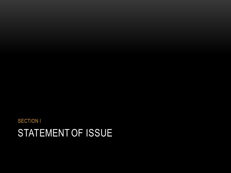 STATEMENT OF ISSUE SECTION I