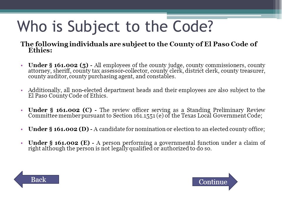 Who is Subject to the Code.