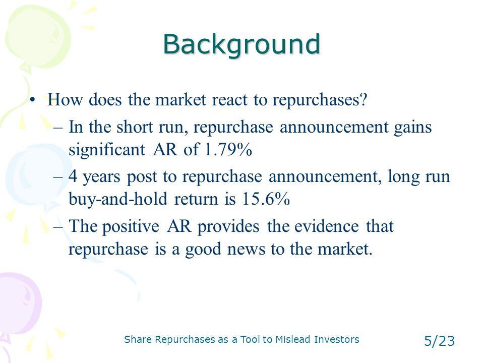 Share Repurchases as a Tool to Mislead Investors 16/23 Stock option of top-executives