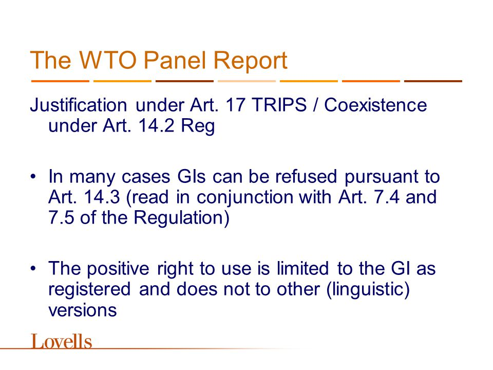 The WTO Panel Report Justification under Art. 17 TRIPS / Coexistence under Art.